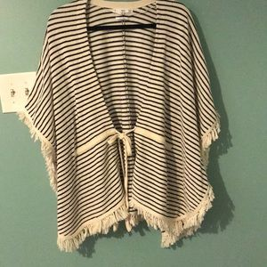 Striped and Fringy Poncho